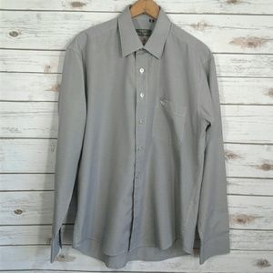 Giorgio Armani Micro Houndstooth Button Down Grey